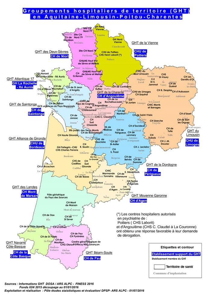 Les 12 GHT de la région Aquitaine-Limousin-Poitou-Charentes