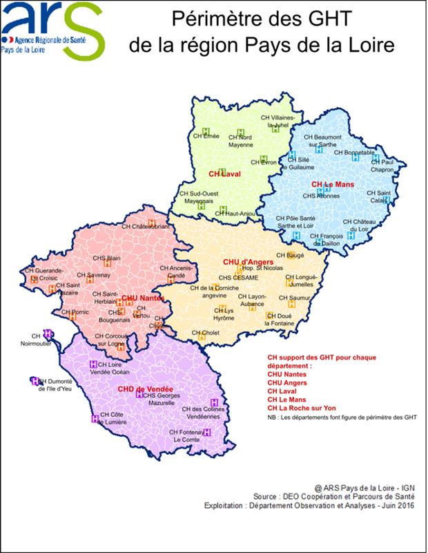 La carte des GHT en Pays-de-la-Loire