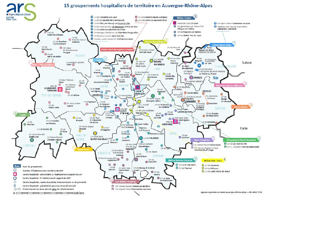 Carte des GHT en Auvergne-Rhône-Alpes