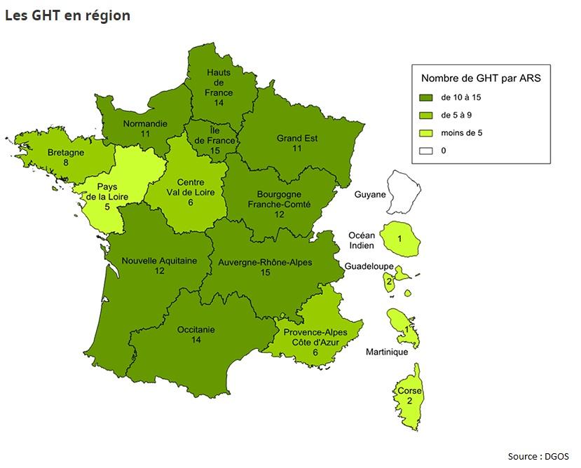 Carte des GHT, source: DGOS