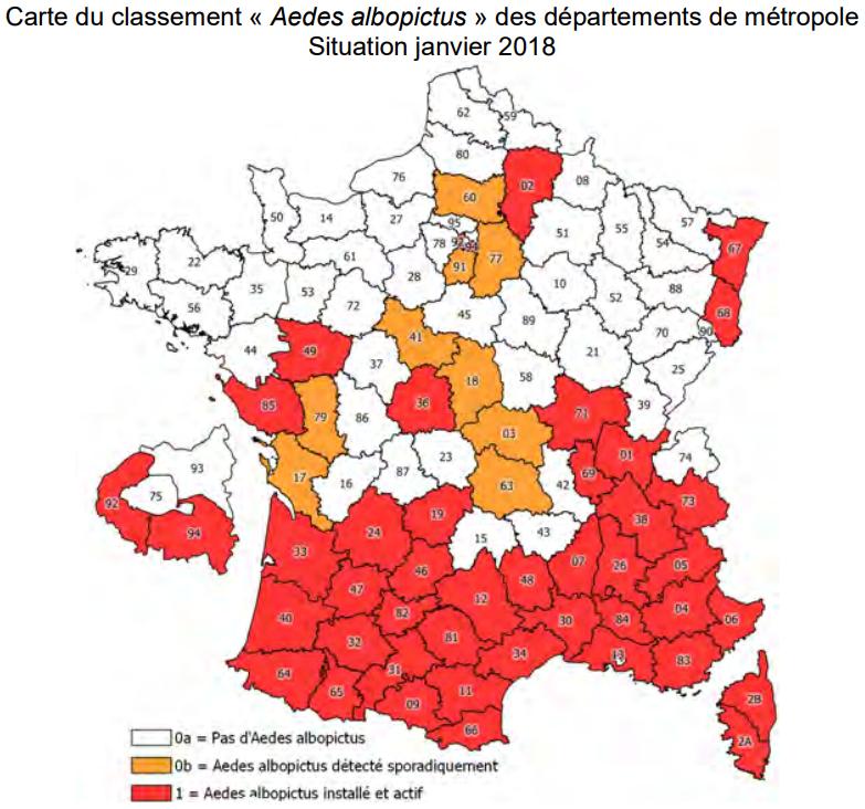 Carte du classement des moustiques Aedes albopictus, janvier 2018.