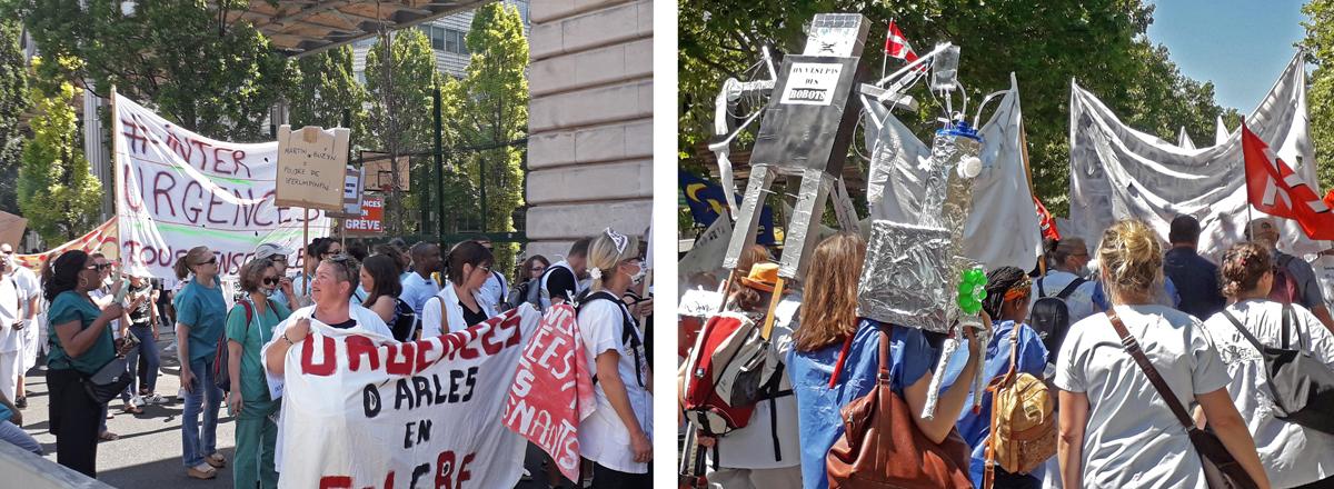 Manifestation pour les services d'urgence hospitaliers, le 2 juillet 2019 à Paris. Photos: Maryannick Le Bris/APMnews