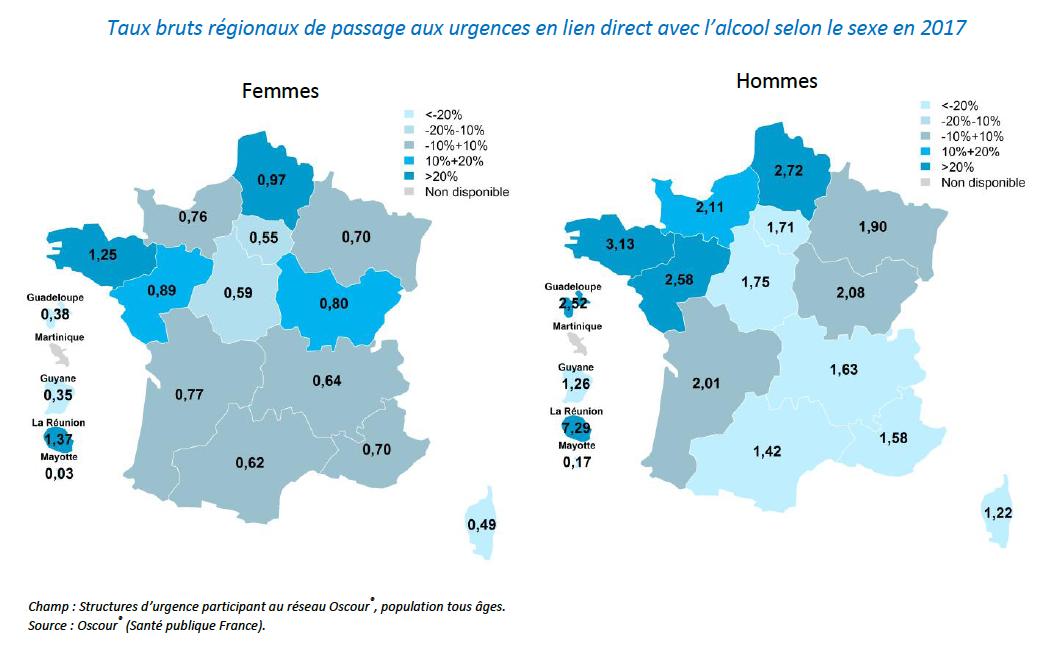 Taux bruts régionaux de passage aux urgences en lien direct avec l'alcool selon le sexe en 2017 (Source Santé publique France)
