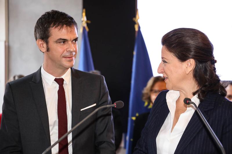 Olivier Véran et Agnès Buzyn le 17 février 2020. Crédit: Philippe Chagnon/Cocktail santé