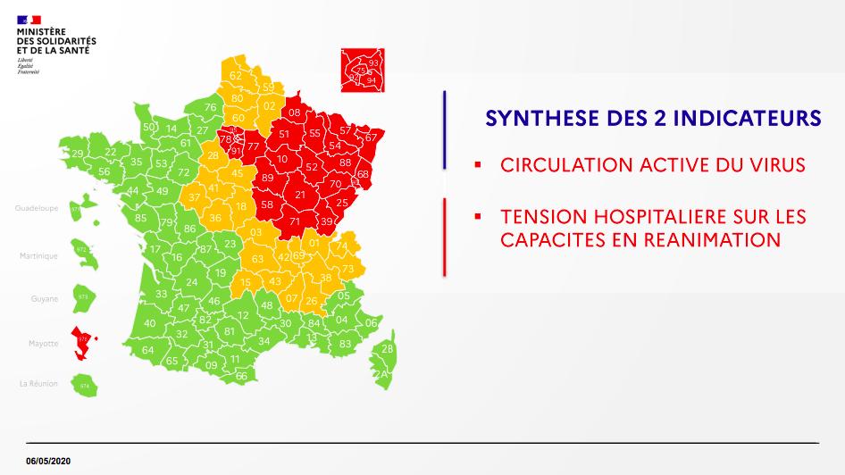 """La Sarthe passe de l'""""orange"""" au """"vert"""" en raison d'une diminution de la circulation du virus."""