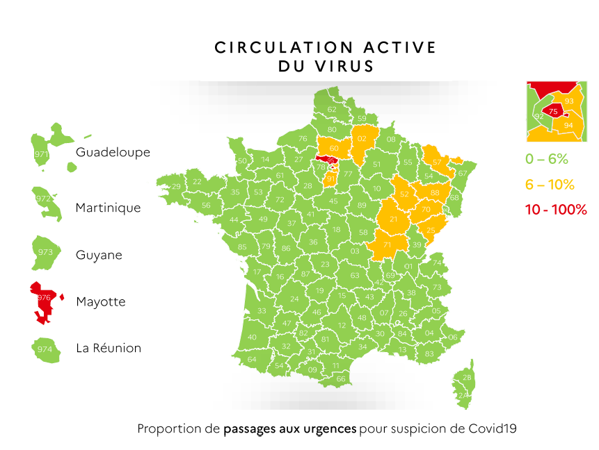 La circulation active du virus au 7 mai 2020