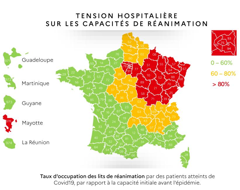 La tension hospitalière sur les capacités de réanimation au 7 mai 2020