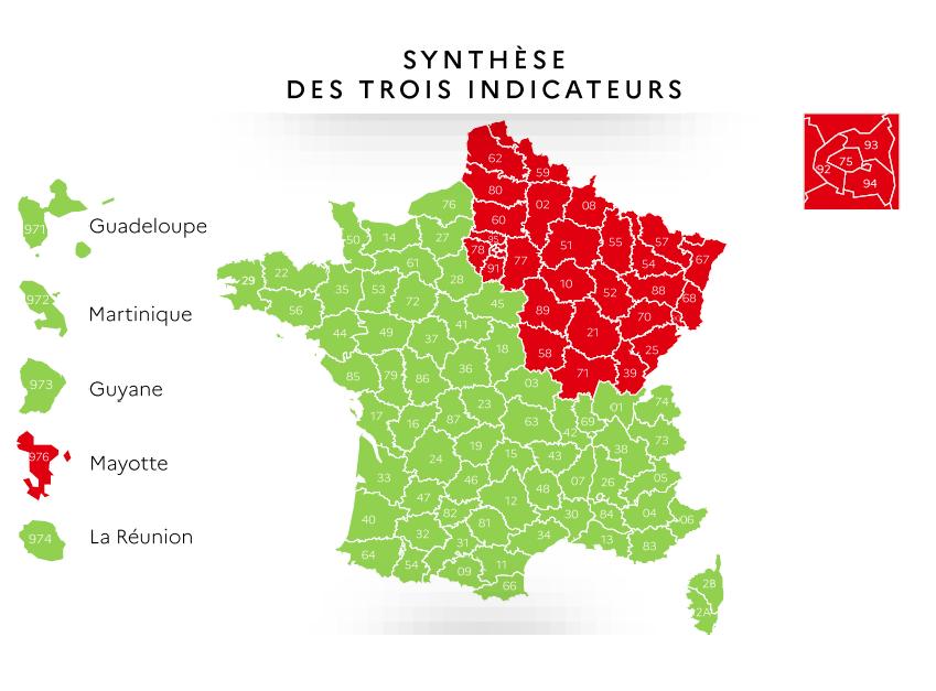 La carte de synthèse des trois indicateurs au 7 mai 2020