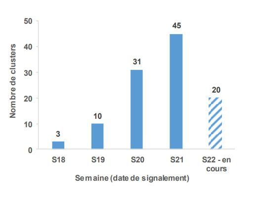 Distribution des clusters rapportés à Santé publique France entre le 9 et le 27 mai 2020 (N=109)