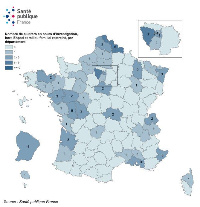 Répartition des clusters par département rapportés à Santé publique France entre le 9 et le 27 mai 2020 (N=87)