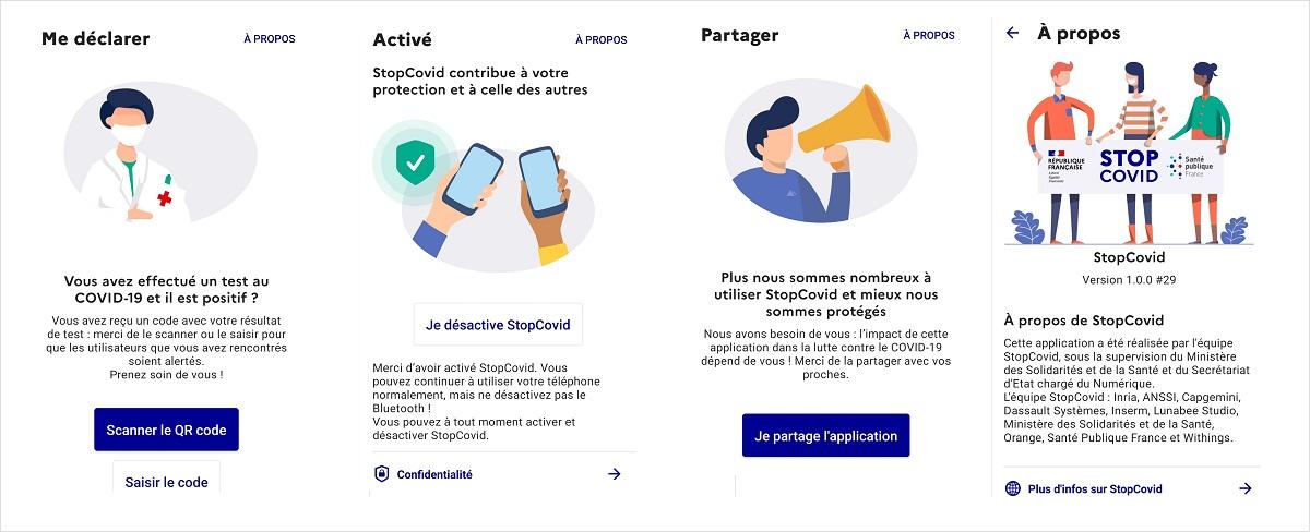 Captures d'écran de l'application StopCovid