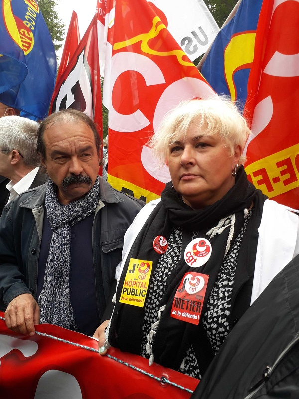 Philippe Martinez et Mireille Stivala, de la CGT. Photo: Maryannick Le Bris/APMnews