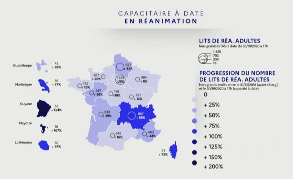 Carte présentée par Olivier Véran (capture d'écran)