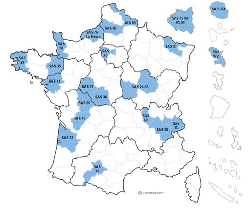 Les 22 sites pilotes du SAS couvrent plus de 40 % de la population française, en métropole et en outre-mer (ministère des solidarités et de la santé).