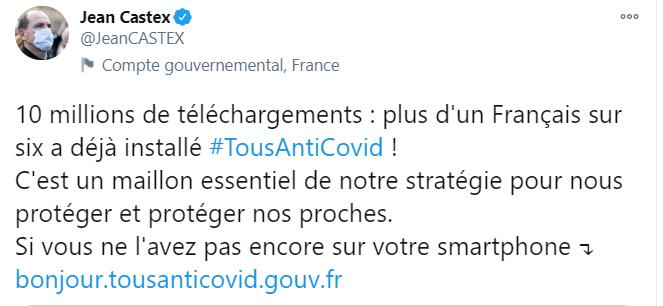 Capture d'écran du compte Twitter de Jean Castex