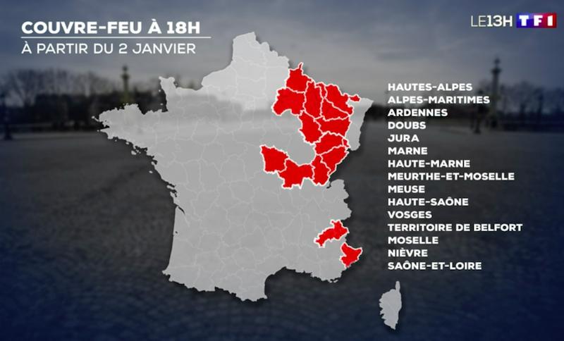Départements concernés par le couvre-feu avancé à 18h à partir du samedi 2 janvier 2021 (capture d'écran TF1)