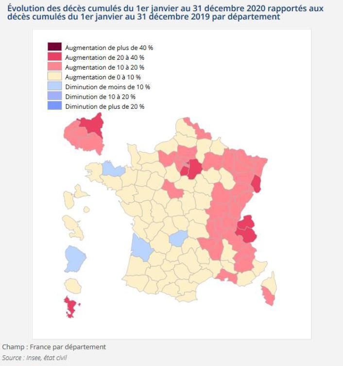 Décès cumulés en 2020 par rapport à 2019 par département (Insee)