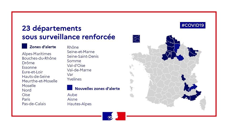"""Les départements en """"vigilance rénforcée"""" - crédits: ministère des solidarités et de la santé"""